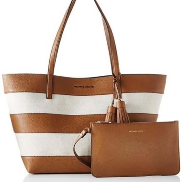45cc7844b264 Michael Kors Bags | Mk Striped Large East West Tote Bag Naturalacorn ...